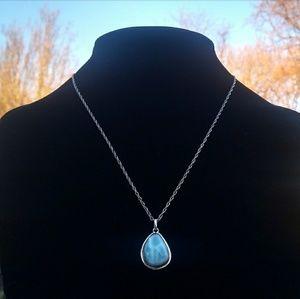 Vintage 925 NATURAL Free-Form  Larimar Necklace